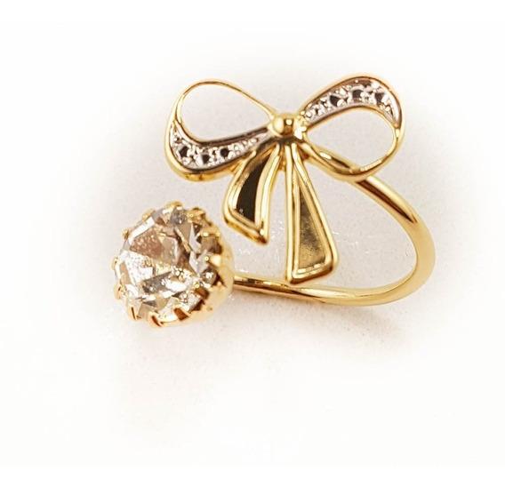 Anel Feminino Infinito Diamante Prata Folheado Ouro. A42r