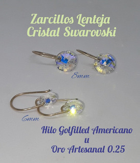 Zarcillos Cristal Swarovski Y Goldfilled Americano