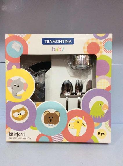 Tramontina Baby Kit Infantil 5 Pcs Aço Inox Ref 64250-740