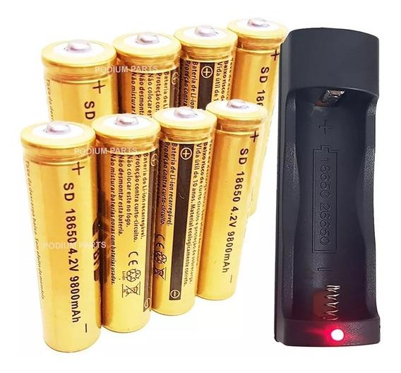 Kit Carregador + 12 Baterias Lanterna Tática Led 18650 4,2v