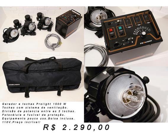 Flash P/ Estúdio - Prolight 1500w + 3 Tochas - Revisado