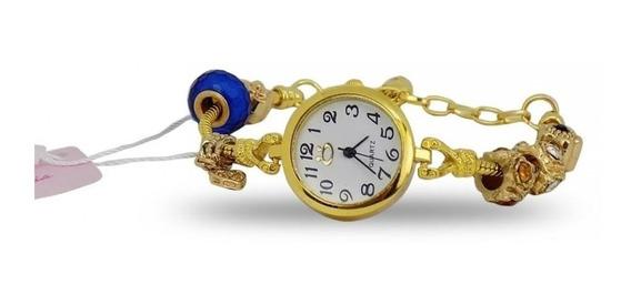 Relógio Feminino Quartz Aço Pulseira Ajustável Com Garantia