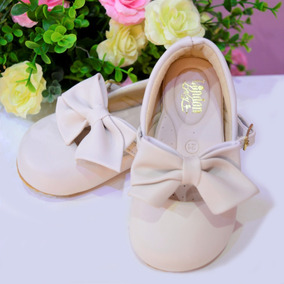 Sapato Infantil De Festa Para Menina Bege