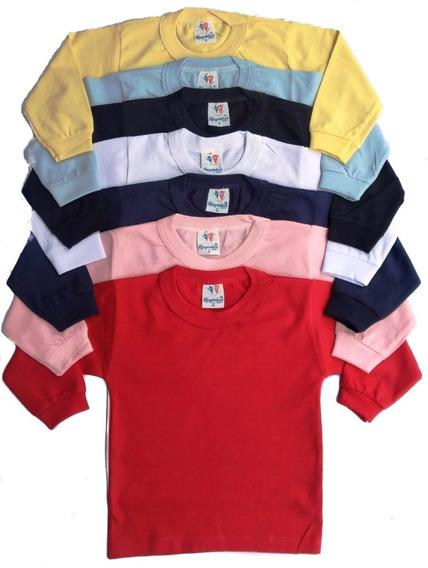 Kit 6 Camiseta M_longa + 6 Culote S/pé Estampado Tam 1 2 3