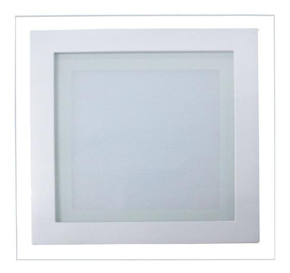 4 Un - Luminária Plafon Led 12w De Vidro Embutir Redon/quad