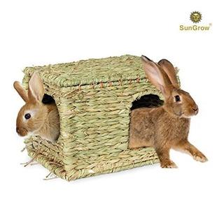 Sungrow Plegable Casa De Hierba Tejida Para Conejos Conejill