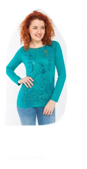 Suéter Desigual Azul Flores Mujer