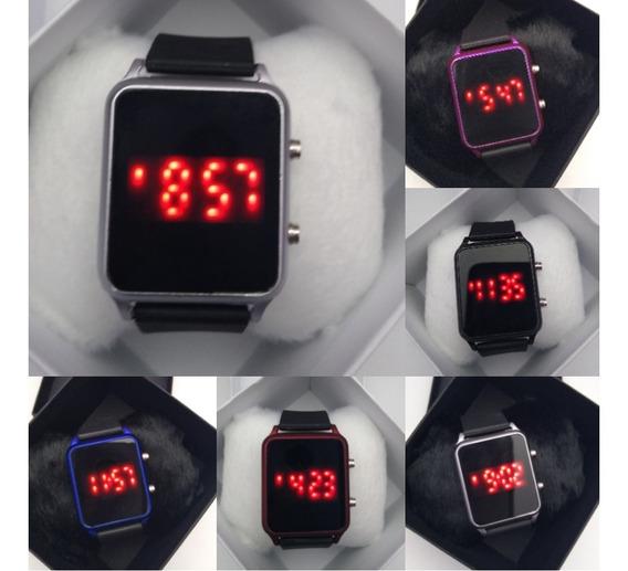 Relógios Digital Silicone Quadrado + Caixa - 10 Unidades