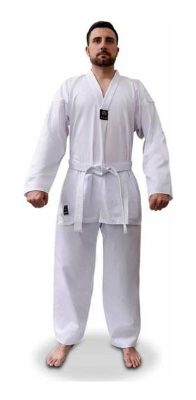 Dobok Taekwondo Adulto Brim Algodao Kimono + Faixa Branca