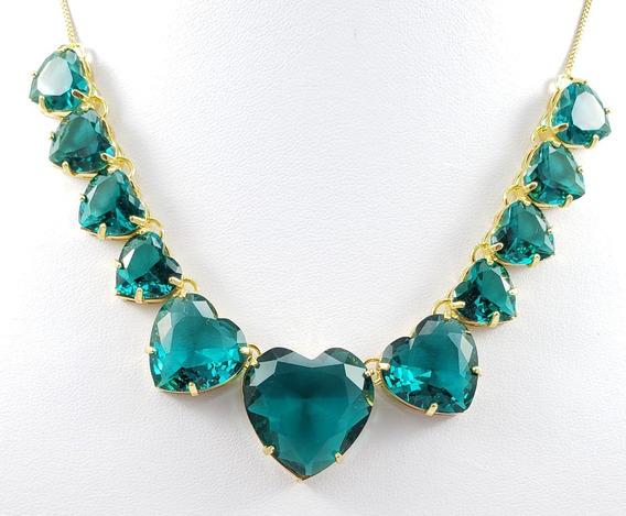 Gargantilha Luxo Pedras Corações Verdes Banhada À Ouro 18k