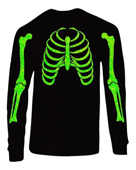 Playera Esqueleto Y Gato Glitter Día De Muertos (hallowen)