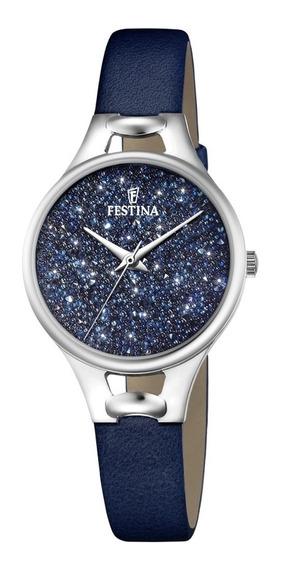 Relógio Festina Feminino Crystals Couro Azul F20334-2