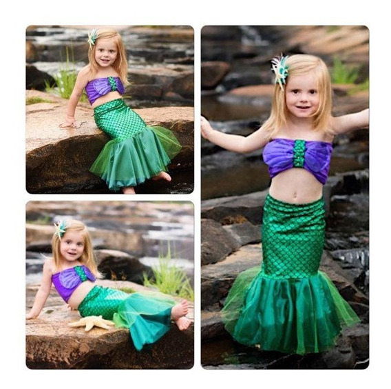 Vestido Ariel Pequena Sereia Infantil Festa Aniversário