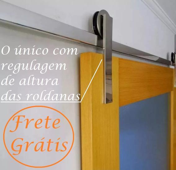 Kit Porta De Correr Roldana Aparente Trilho 2 Mt 100kg