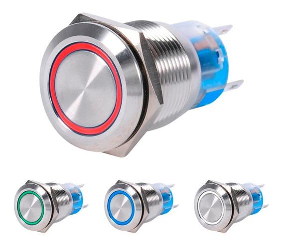 Botão Interruptor Led De Aço Inoxidável 16mm 127/220v 6a