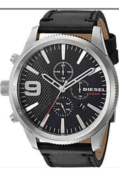 Diesel Dz4444 Rasp Chrono.....reloj De Piel Negro
