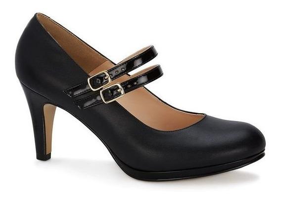 Zapato Dama Andrea Ejecutivo Mary Jane Negro Doble Hebilla