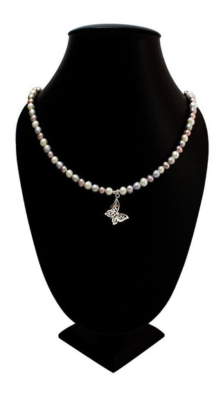 Collar De Perlas Pastel Dije Mariposa (plata Ley .925)