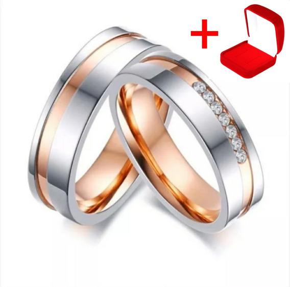 Alianças De Aço Inox Banhada Ouro Rosé Noivado Namoro Par