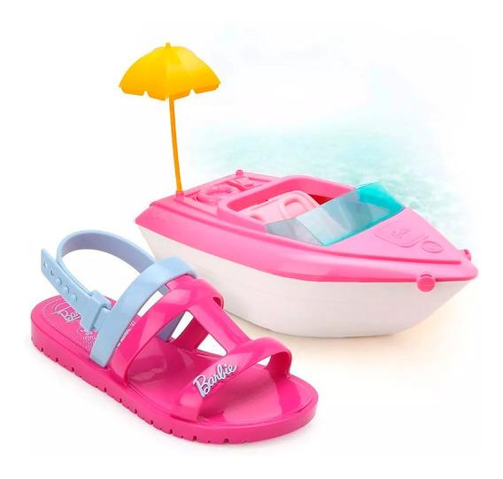 Sandália Barbie Iate Grendene Infantil Rosa E Azul - 22002