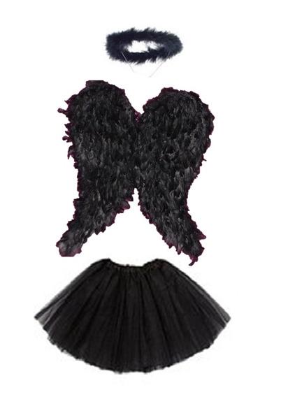 Disfraz De Angel Caido O Angel Negro Diablo Halloween Mujer