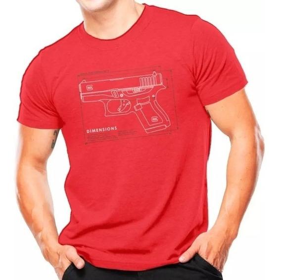 Camiseta Militar Estampada Glock Vermelha