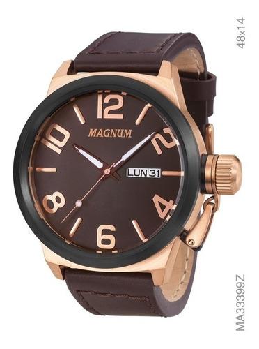 Relógio Masculino Magnum Analógico Ma33399z Marrom Couro