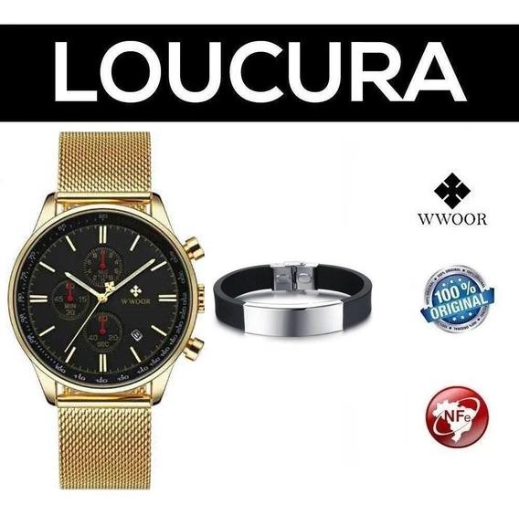 Relógio Pulso Masculino Original Wwoor + Pulseira Brinde