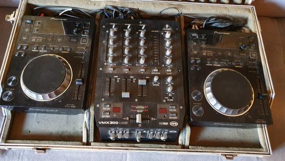 Kit Cdj 350 + Mixer + Case