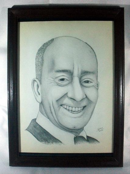 Retrato Original De Alberto Olmedo En Grafito Enmarcado