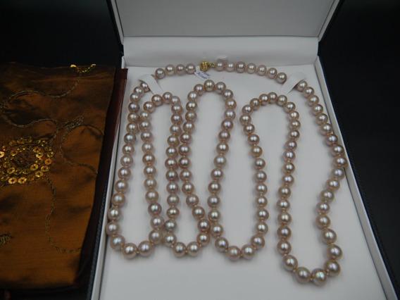 Collar De Perlas Naturales Rosas 10 Mm Y Broche De Oro 14k