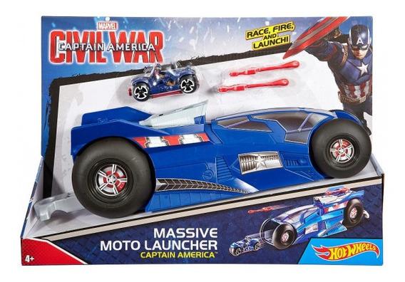 Carro Mega Lanzador Motos Capitan America Hot Wheels 30verde