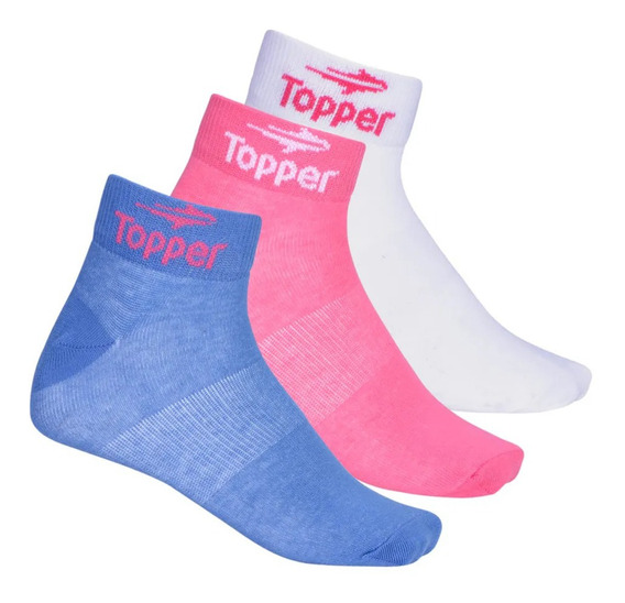 Medias Topper C Training Pack X 3 Soquetes Mujer Bl/fu