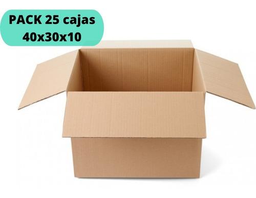 Imagen 1 de 2 de Cajas De Cartón 40x30x10 / Pack 25 Cajas / Cart Paper