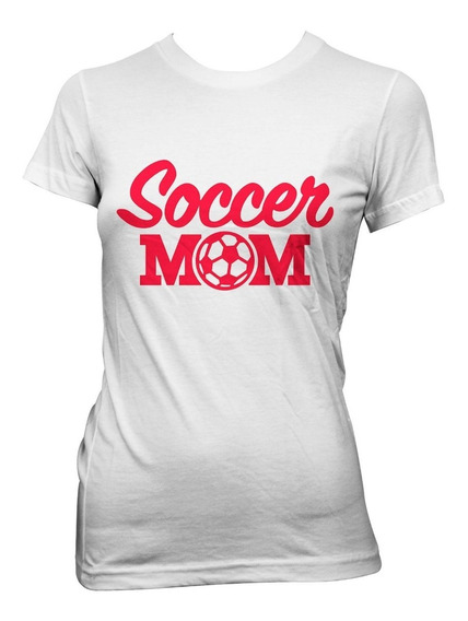 Playera Blanca De Algodón Con Diseño Soccer Mom.