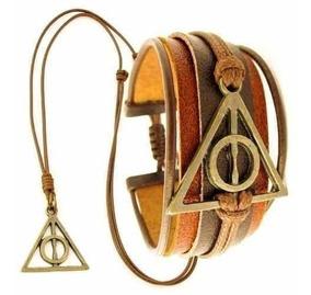Kit Pulseira Couro Harry Potter Colar Relíquias Frete Grátis
