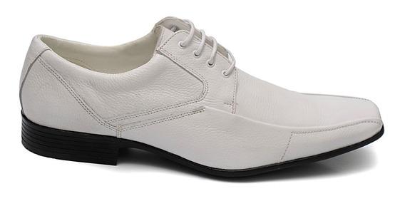 Sapato Social Branco Couro Legítimo Sola Costurada Forrado