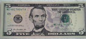Cédula Nota Cinco (5) Dólares Americanos