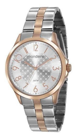 Relógio Feminino Mondaine Prateado Com Tons Dourados 53674lpmvge2 - Original Com Garantia De 1 Ano