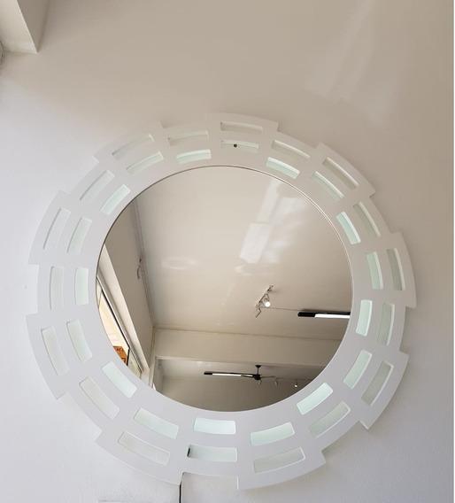 Espelho Decorativo Com Led 1,00ø Laca Branca Ou Preta Lindo