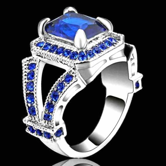 Aro 19 Anel Masculino Feminino Cristal Safira Azul Dia 434