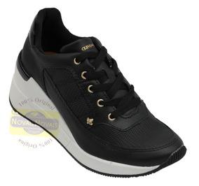 Tênis Feminino Sneaker Cravo E Canela Preto 100% Original