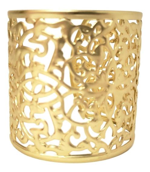 Bracelete Ana Cor Ouro Largo Vazado Inspiração Coleção Luxo