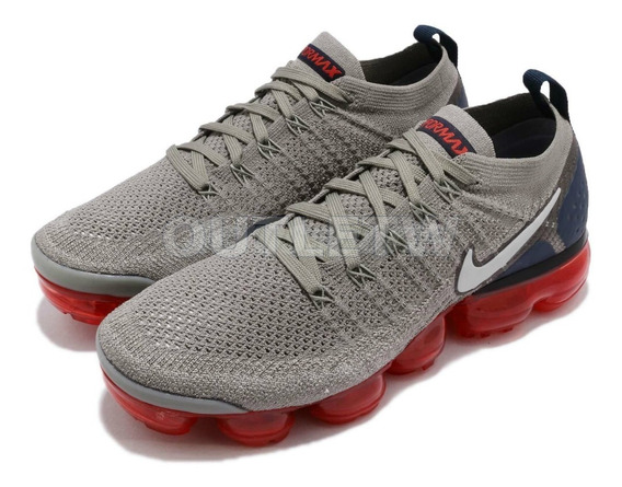 Tenis Nike Vapormax Flyknit 2.0 Air Original Gray Red Blue