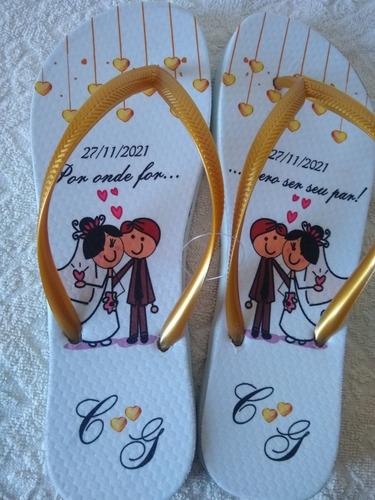 Imagem 1 de 4 de Chinelos Personalizados Para Casamento Aniversário