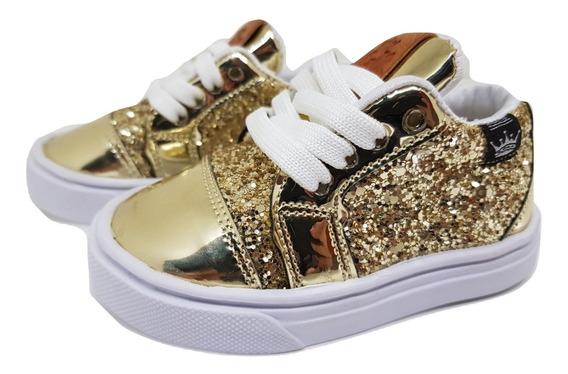 Zapatillas Nenas Niñas Color Dorado Con Brillo