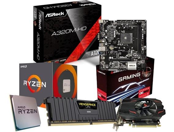 Kit Ryzen 5 1600 Af + A320m + Rx 550 4gb + 8gb Ram - A320