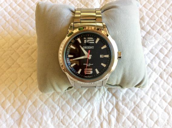 Belíssimo Relógio Orient Quartz 45 Mm Negro Em Aço Inox