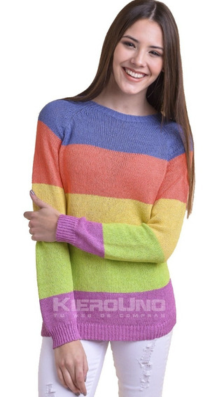 Sweater Mujer Suave Liviano Hilo Cuello Redondo Colorido