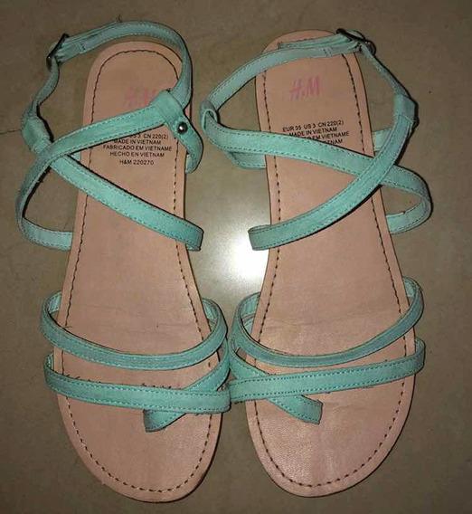 Sandalias Importadas H&m Para Niña Talla 35 Color Turquesa